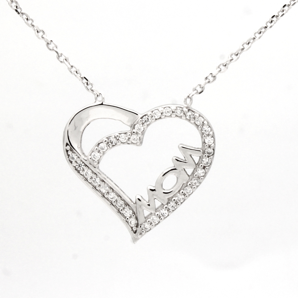 Sterling Silver CZ LOVE Necklace with 2 Extension